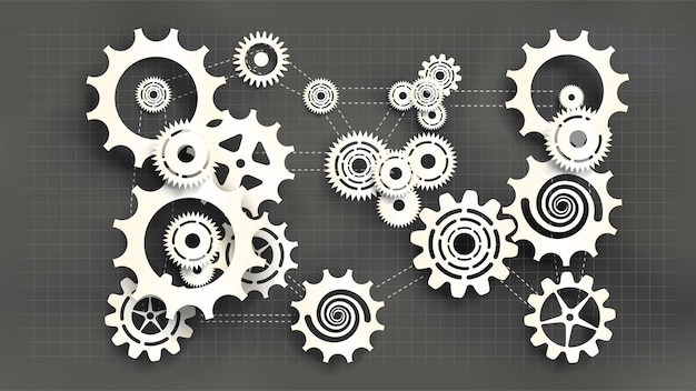 Paper cut style white gears and cogs on gray blueprint chalkboard background. Premium Vector
