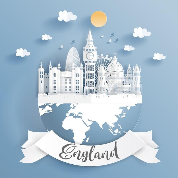Paper cut style of world famous landmark of london Premium Vector