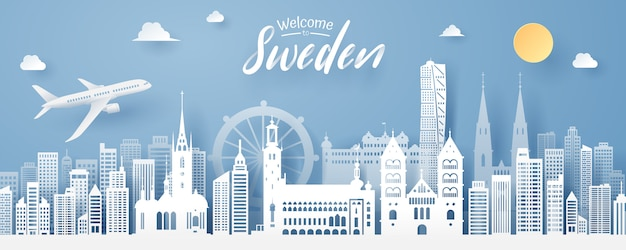 Paper cut of sweden landmark Premium Vector