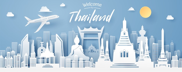 Paper cut of thailand landmark Premium Vector