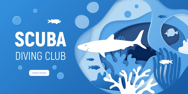 Paper cut underwater background with coral reefs. Premium Vector