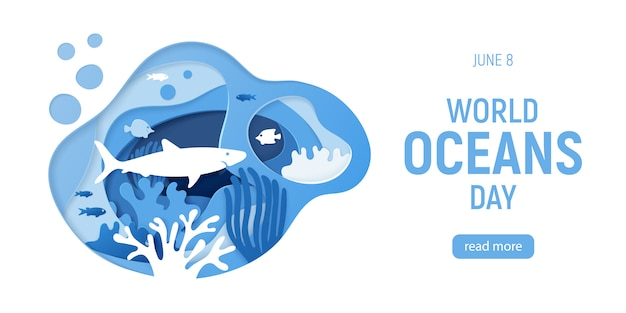 Paper cut underwater background with coral reefs Premium Vector