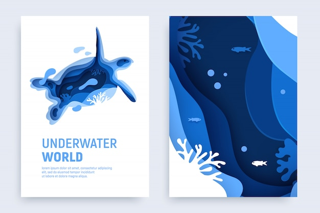 Подрезанный под водой покров для бумаги с черепаховым силуэтом, рыбой, волнами и коралловыми рифами. Premium векторы