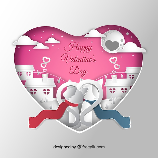 Paper cut valentine's day  Free Vector