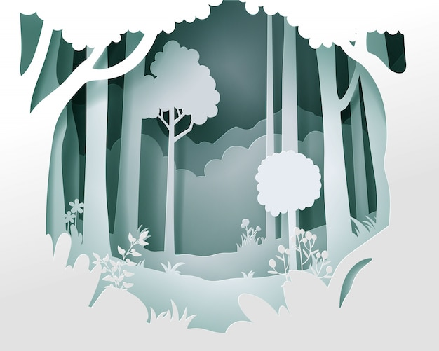 Paper cut vector landscape with deep forest. Premium Vector