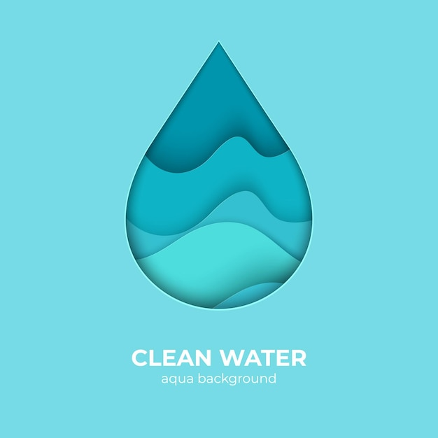 Paper cut water drop logo design template. 3d minimal water wave shapes, abstract origami ocean waves. vector creativity waterdrop with splash save pure nature as an element of eco logo Premium Vector
