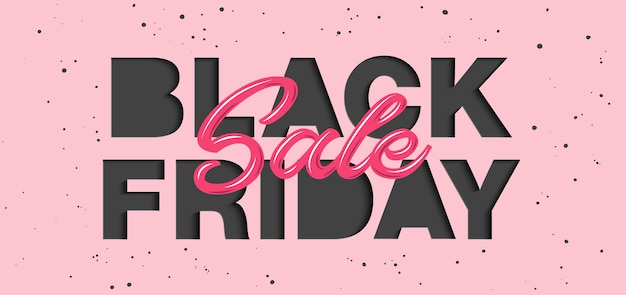 Paper cut with words. black friday sale. Premium Vector