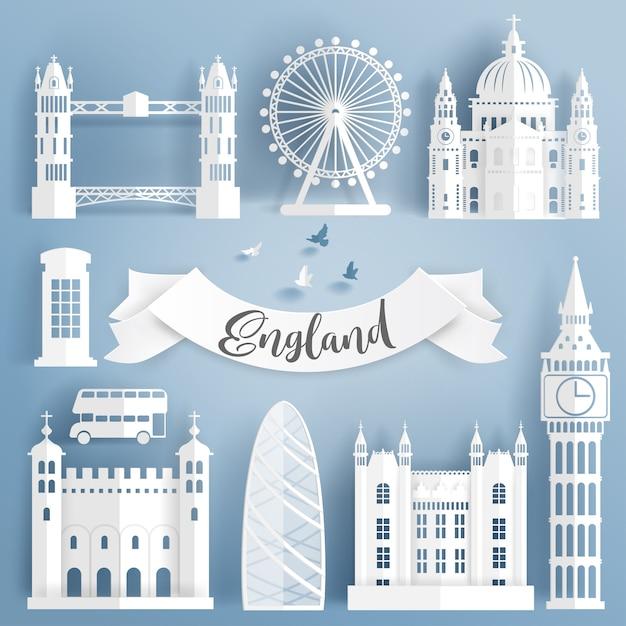 Paper cut of world famous landmark elements of london Premium Vector