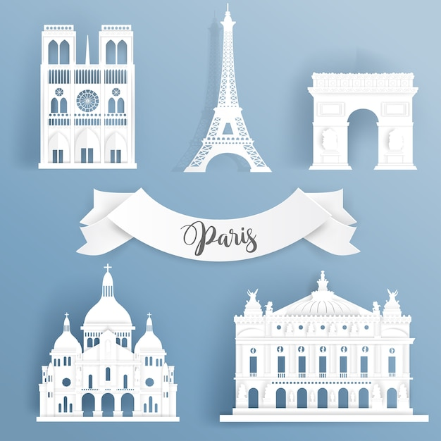 Paper cut of world famous landmark elements of paris Premium Vector