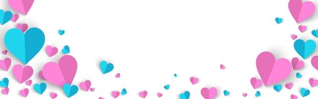 Промо-акция на фоне баннера на день святого валентина в стиле paper cut Premium векторы