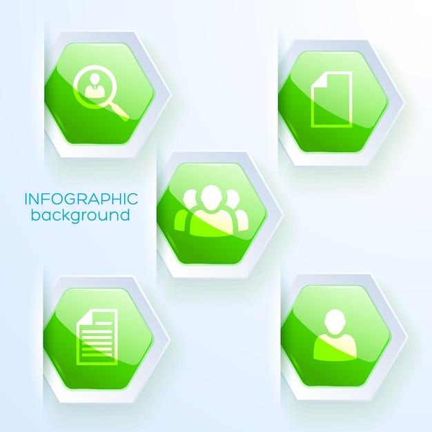 テーマチームの作業戦略フラットに5つの緑色の六角形のアイコンとビジネスインフォグラフィックの紙のデザイン 無料ベクター