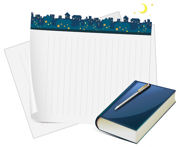 Paper design with city view at night Free Vector