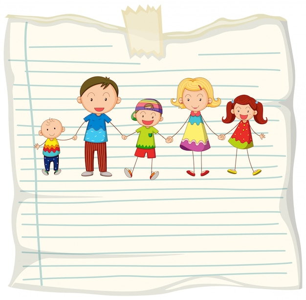 Paper design with family members holding hands Free Vector