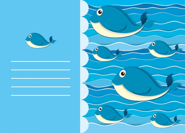 Paper design with whale in water Free Vector