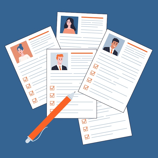 テーブルトップビューの紙の文書。履歴書、仕事の候補者の束。労働と採用のアイデア。図 Premiumベクター