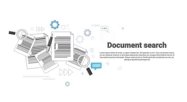 Paper document search magnifying glass paperwork business web banner vector illustration Premium Vector