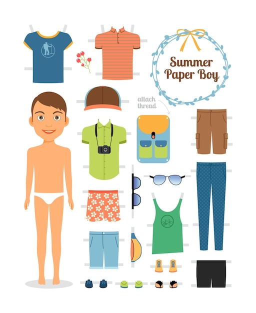 Paper doll boy in summer clothes and shoes. cute dress up paper doll. body template, outfit and accessories. summer collection Free Vector