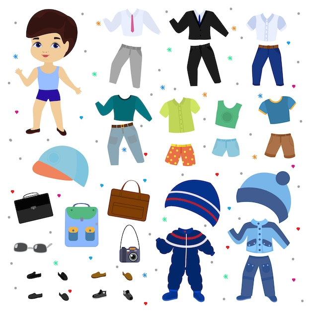 Paper doll vector boy dress up clothing with fashion pants or shoes illustration boyish set of male clothes for cutting cap or t-shirt isolated. Premium Vector