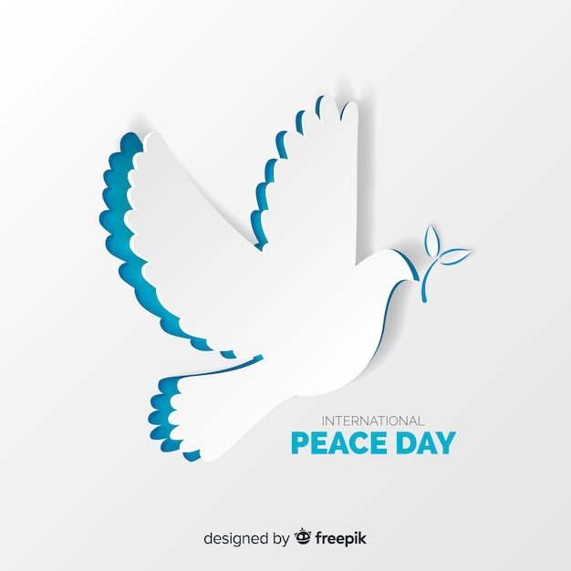 Paper dove for international peace day Free Vector