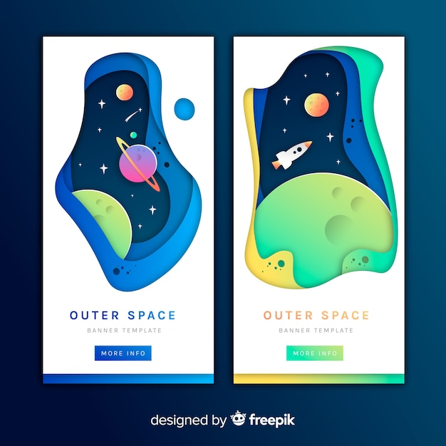 Paper effect outer space banner Free Vector