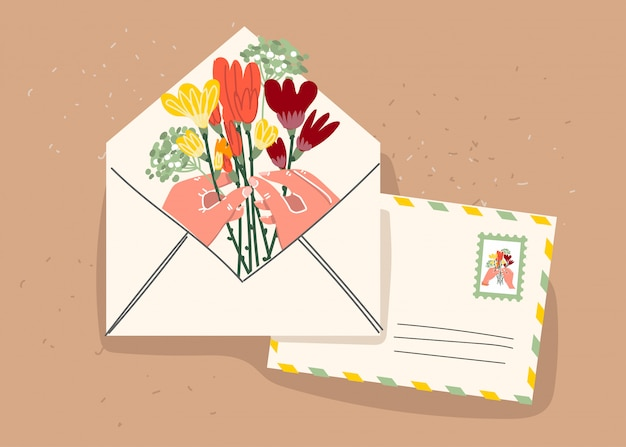 Paper envelope with stamps and decorative elements on an isolated background. flat illustration. . Premium Vector