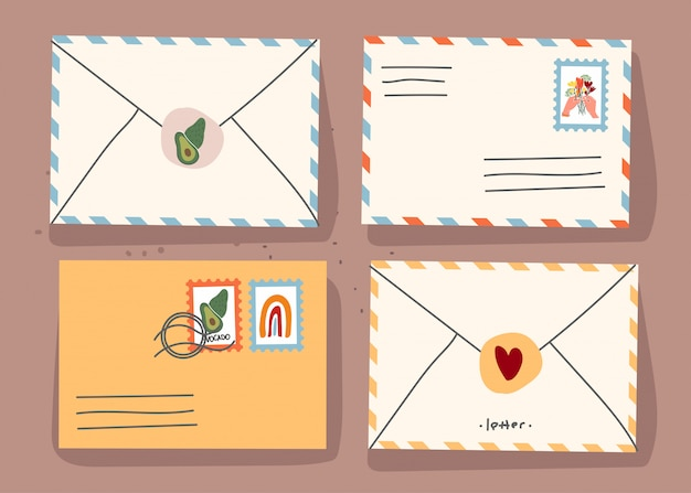 Paper envelopes with stamps and decorative elements on an isolated background. flat illustration. . Premium Vector
