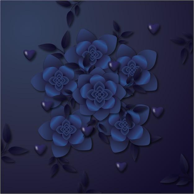 Paper flowers 3d illustration frame design Premium Vector