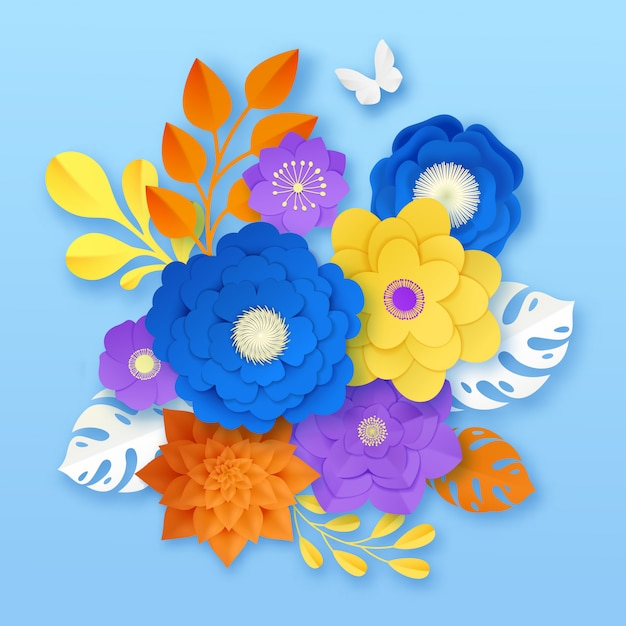 Paper flowers abstract composition template Free Vector