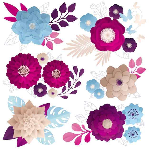 Paper flowers compositions colorful set Free Vector