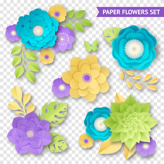 Paper flowers compositions transparent set Free Vector