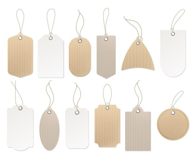 Paper hanging labels. Premium Vector