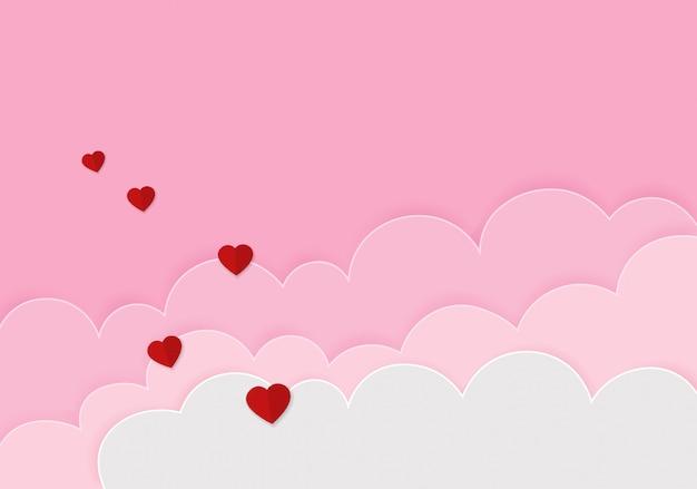 紙のハート幸せなバレンタインデーのお祝いの背景 Premiumベクター