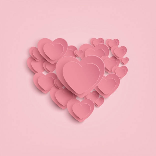 Paper heart on pink background Premium Vector