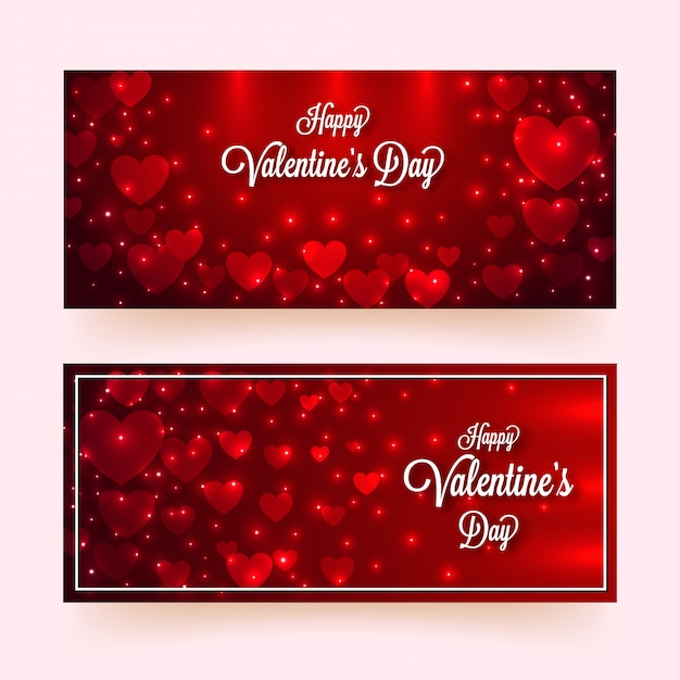 Paper heart shapes decorated with lighting effect on glossy red Premium Vector