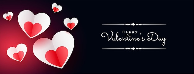 Paper heart style valentines day banner Free Vector