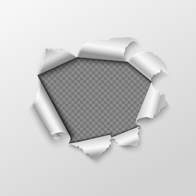 Paper hole with torn edges Premium Vector