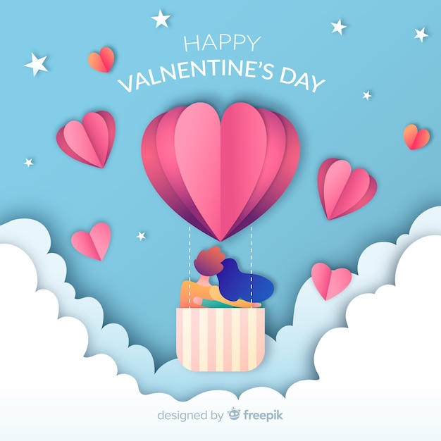 Paper hot-air balloon valentine's day background Free Vector
