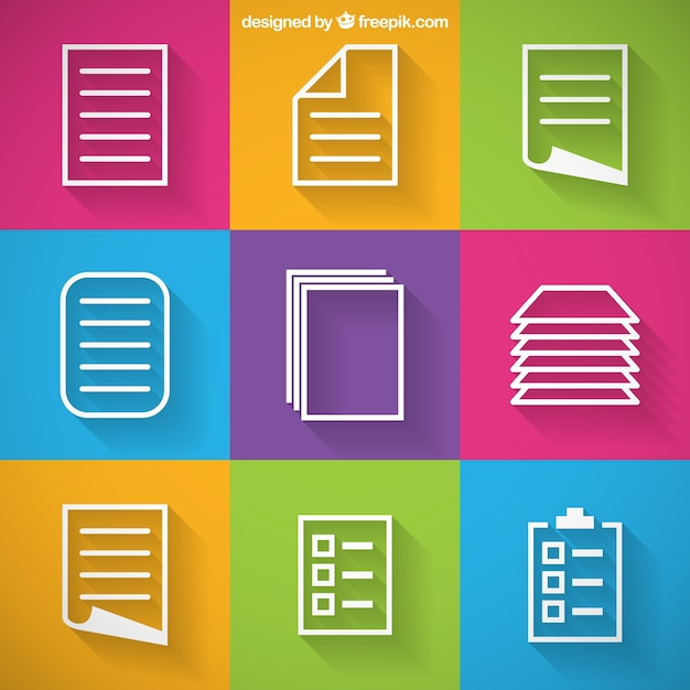 paper icons vector free download