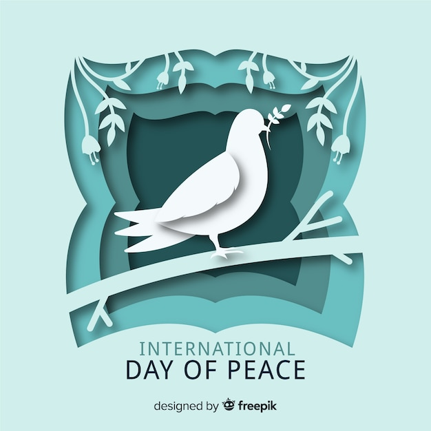 Paper international day of peace Free Vector