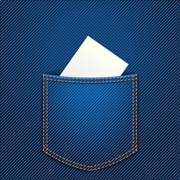 Paper in jeans pocket Premium Vector