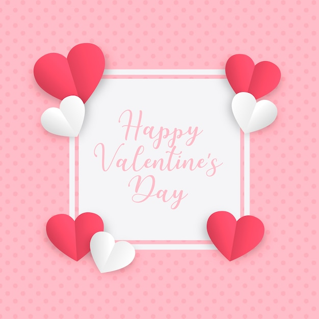 Paper love frame for valentine's day Free Vector