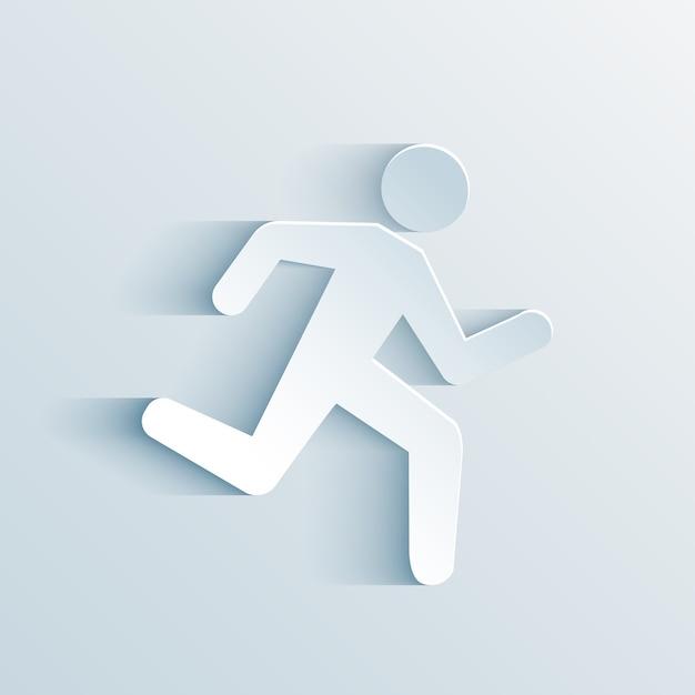 Paper man running sign vector illustration Free Vector