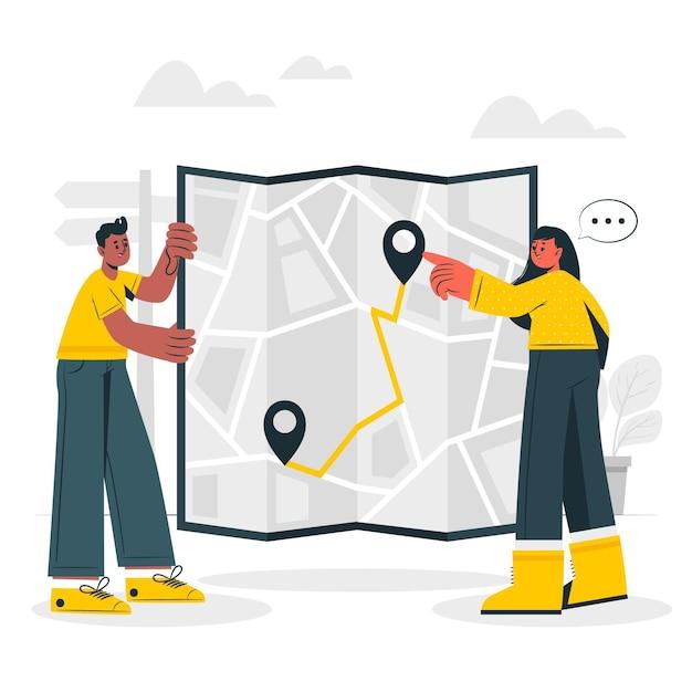 紙地図の概念図 無料ベクター
