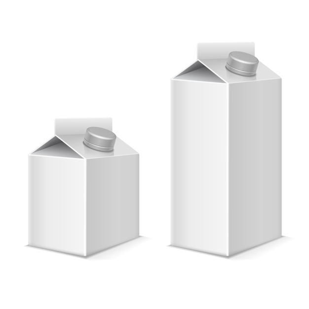 Paper milk and juice product tetra pack containers set Premium Vector