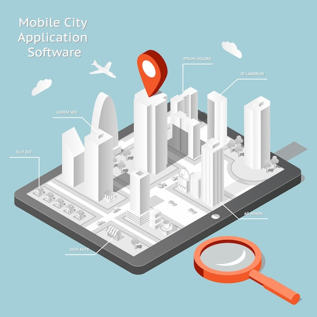 Paper mobile city navigation application software. route internet gps, road and travel city. Free Vector