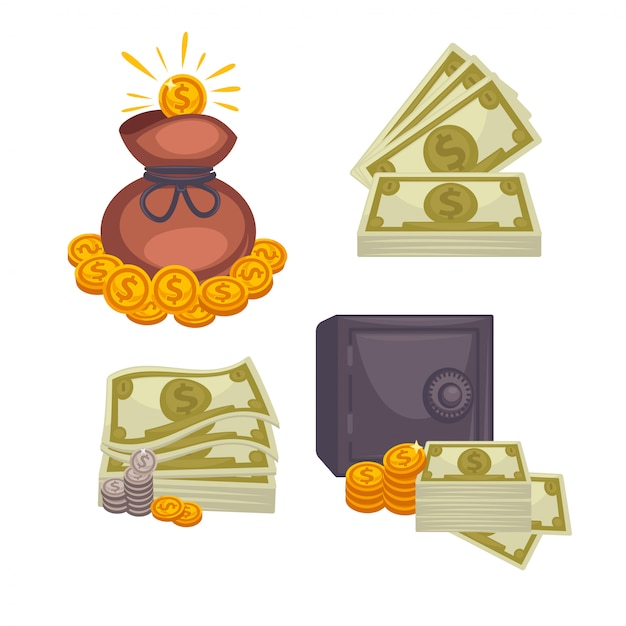 Paper money and  bag Premium Vector