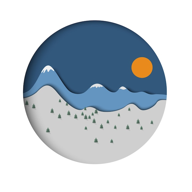 Paper mountain landscape with spruce and sun Premium Vector