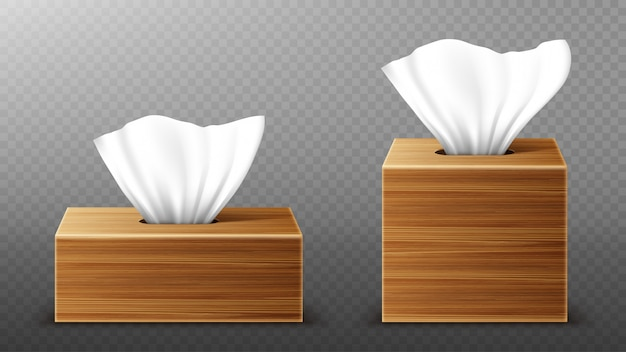 Paper napkin in wooden boxes mockup, open blank packages with tissue pull wipes. hygiene accessories, brown wood packages isolated on transparent background, realistic 3d illustration, mock up Free Vector