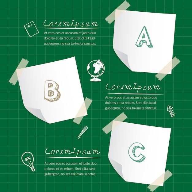 3つのステップで紙メモビジネスインフォグラフィック。 Premiumベクター