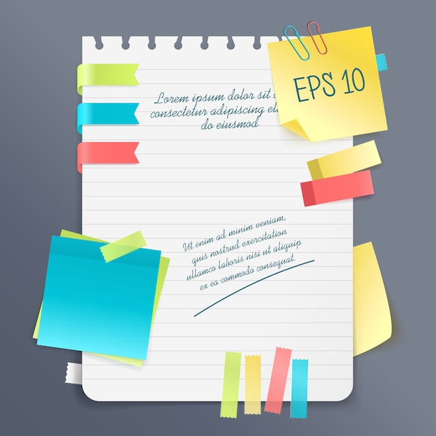 Paper note composition Free Vector